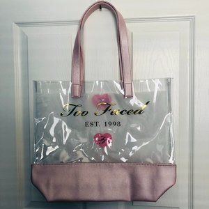 Too Faced Pink and Clear Tote Bag NEW